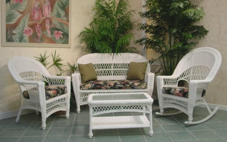 conjunto muebles mimbre blancos bonitos