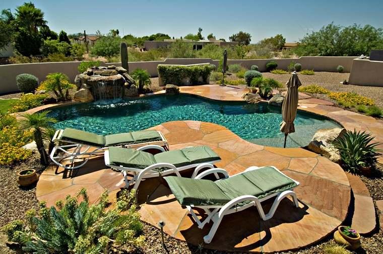 construccion de piscinas diseno original jardin fuente ideas