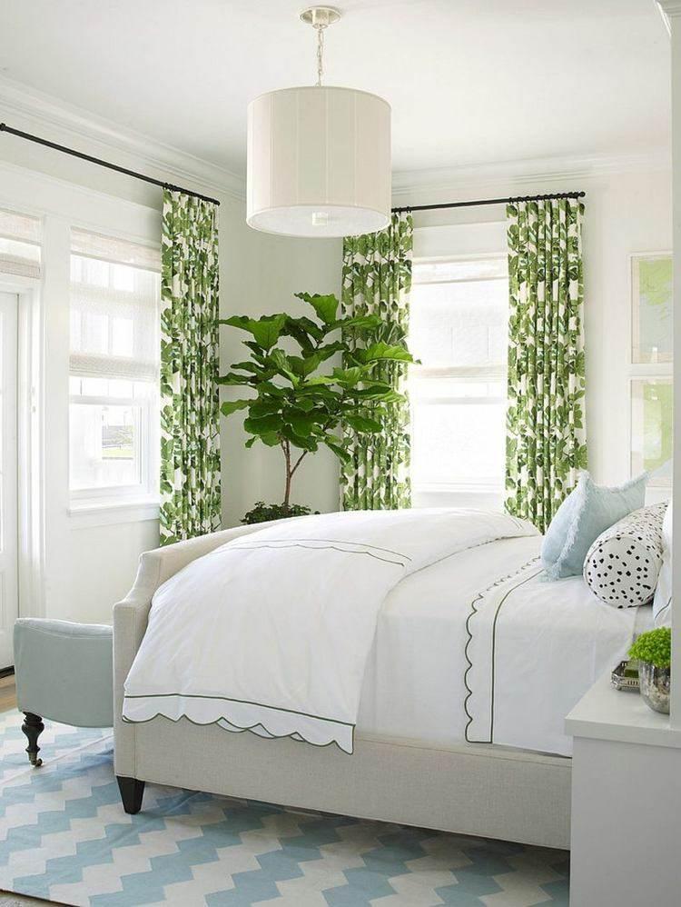 cortinas motivos vegetales verdes blanco