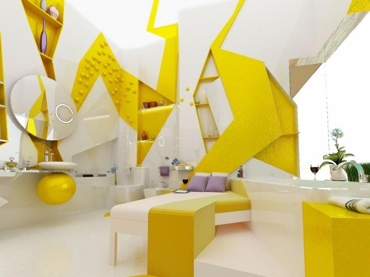 Baños de color amarillo - muebles y accesorios brillantes
