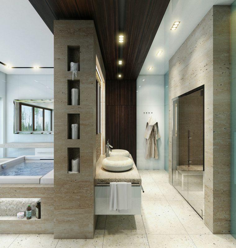 cuarto baño marmol travertino