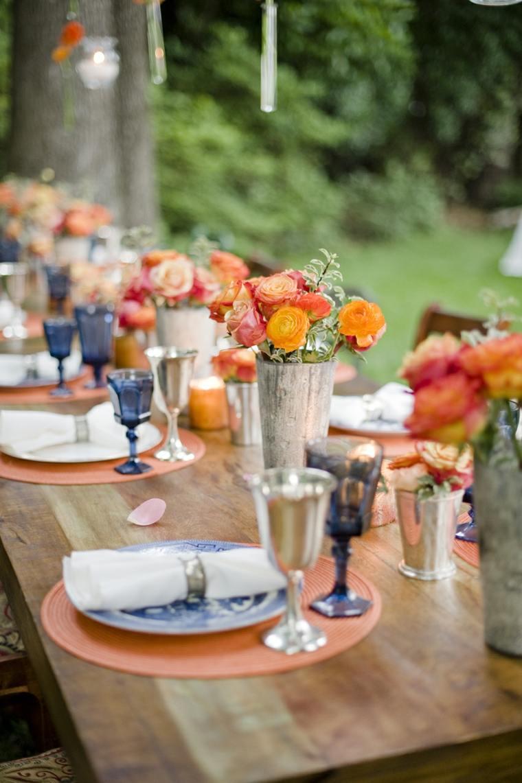 decoración mesa color naranja