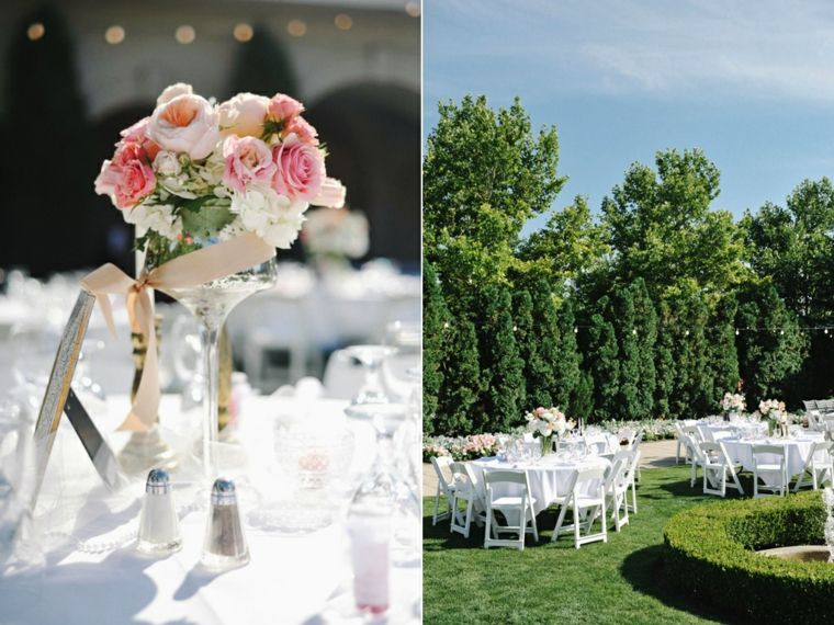 Decoracion para bodas en verano cuarenta y dos ideas for Arreglos de mesa para boda en jardin