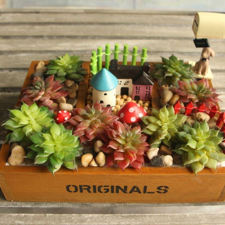 decorar terrazas barato caja plantas suculentas