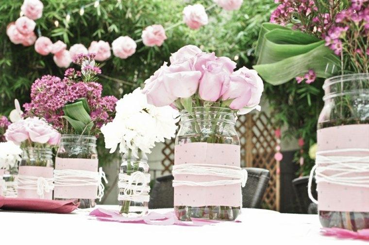 decoración nboda casera color rosa