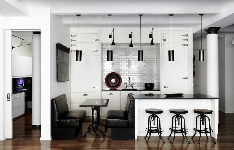 decorar cocina blanco negro
