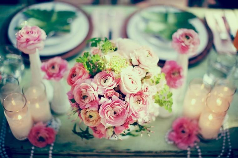 decoración mesa romantica vintage