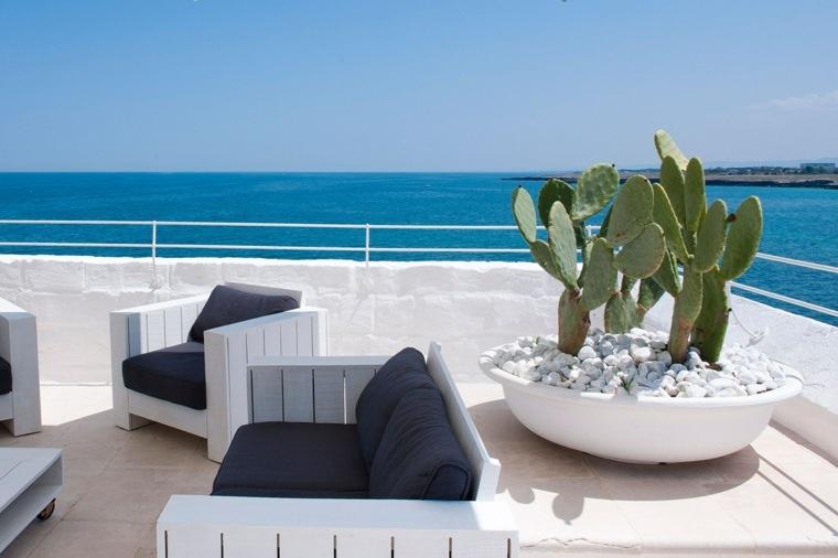 decoracion terrazas muebles madera blanca maceta ideas