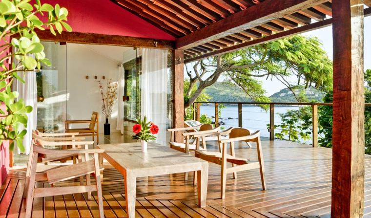 decoracion terrazas muebles pergola madera ideas