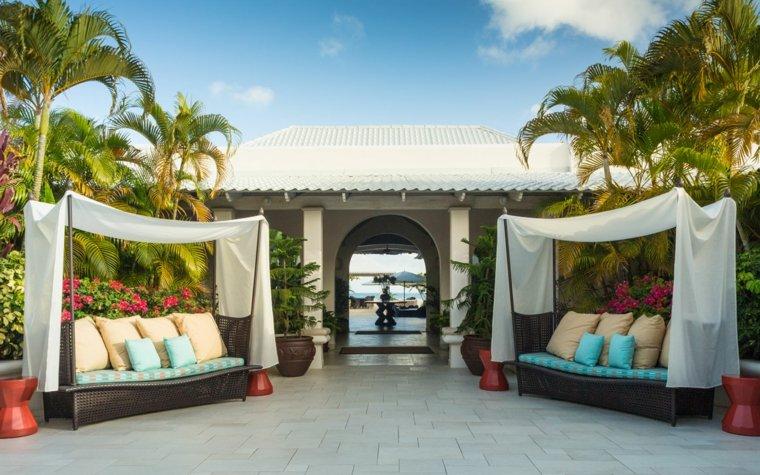 decoracion terrazas sofas dosel blanco relax ideas