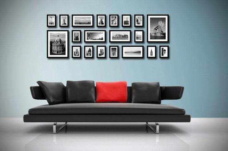 decorar con fotos azules paredes cojines