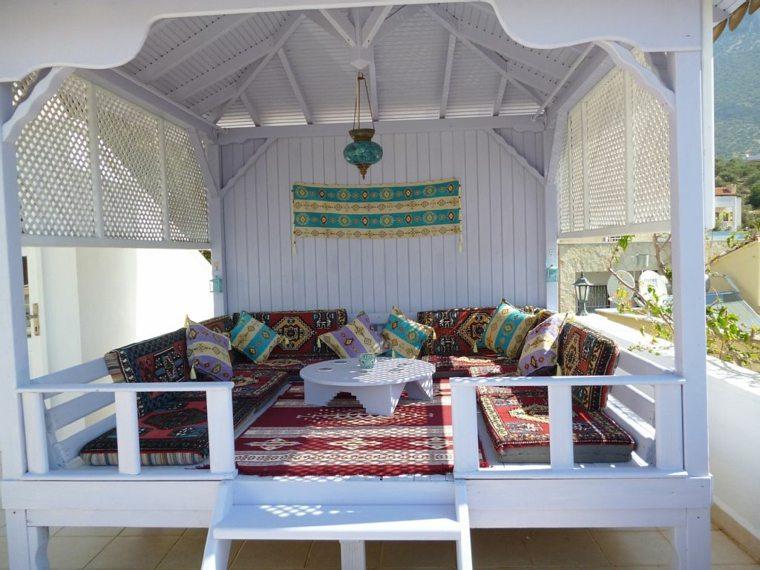 decorar terraza moderna caseta madera blanca ideas
