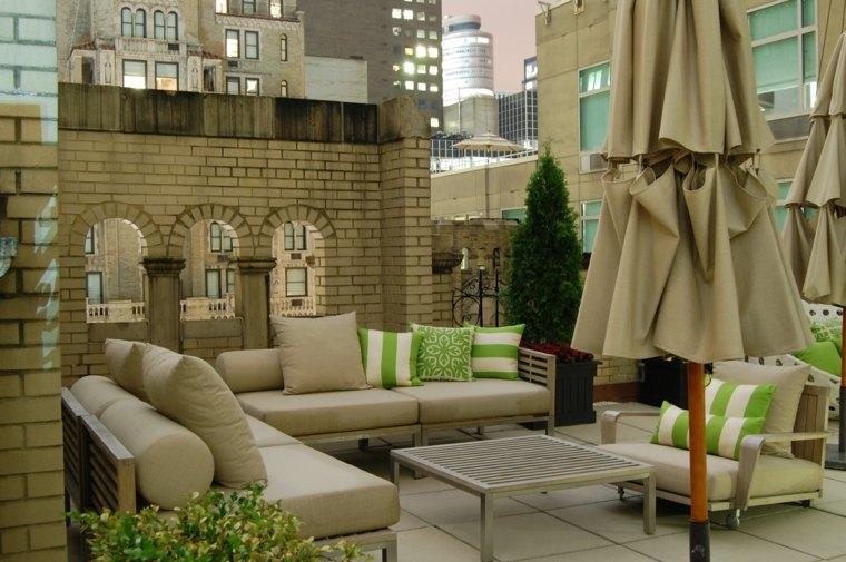 decorar terraza pequena muebles color oscuro ideas