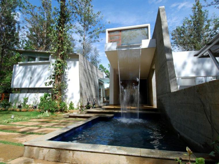 diseño cascada casa contemporánea moderna