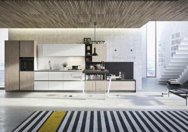 diseño cocina moderna alfombra rayas