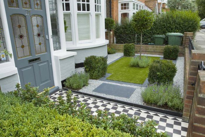 diseño de jardines ideas entrada principal geometricos