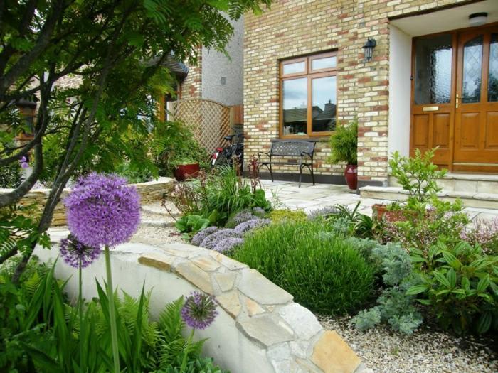 garden design ideas natural rocks flowers