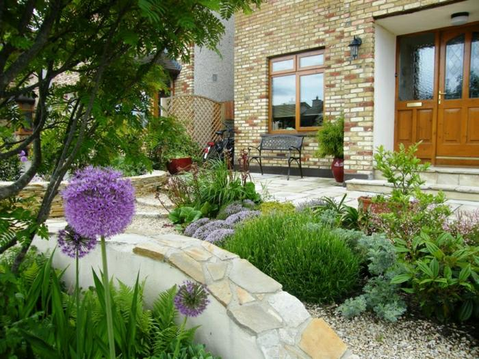 diseño de jardines ideas rocas naturales flores