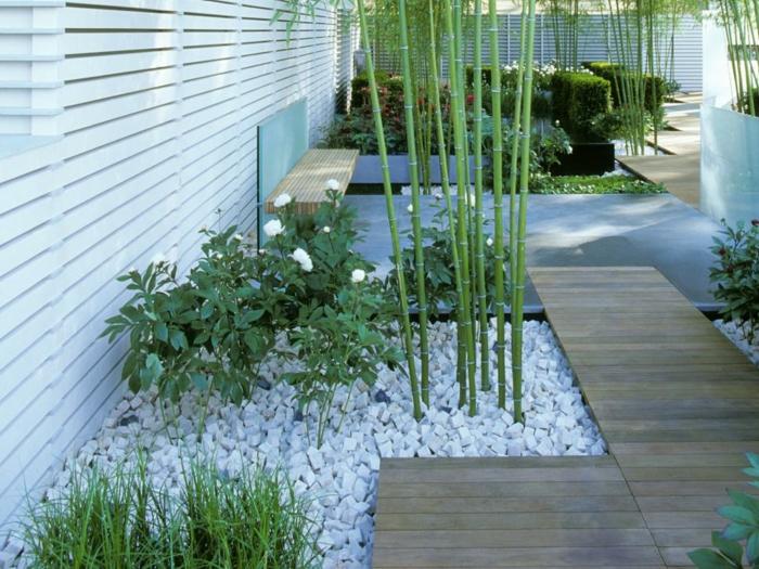 diseño de jardines minimalismo bambu plantas blanco