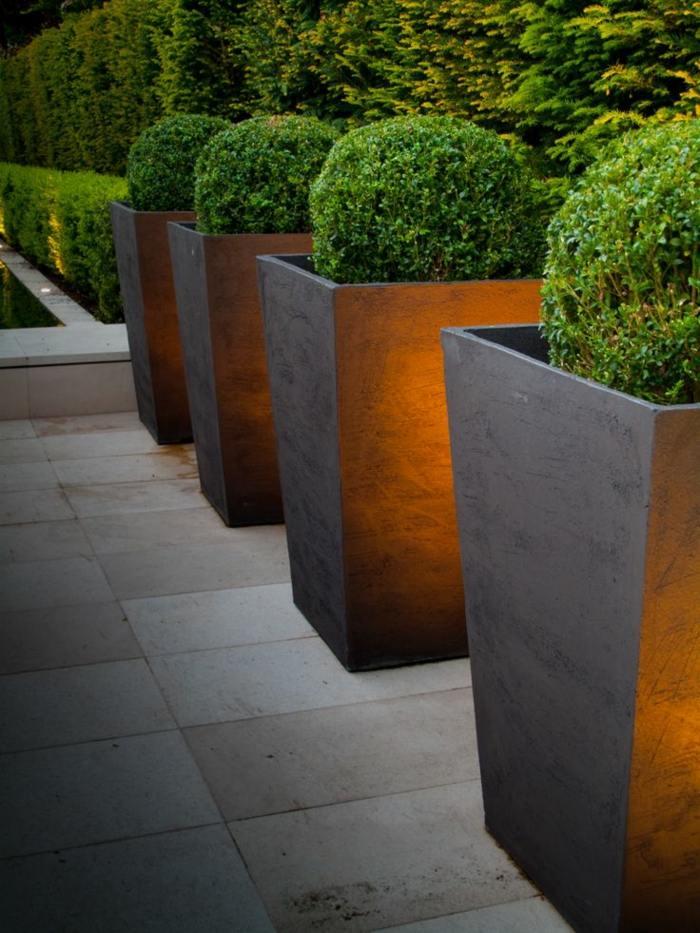 diseño de jardines minimalismo jardineras formas