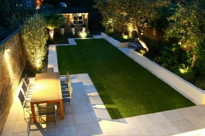 diseño de jardines minimalismo luces laterales led