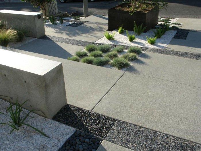 diseño de jardines minimalismo muros exteriores pendiente