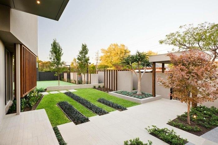 diseño de jardines minimalismo paredes led