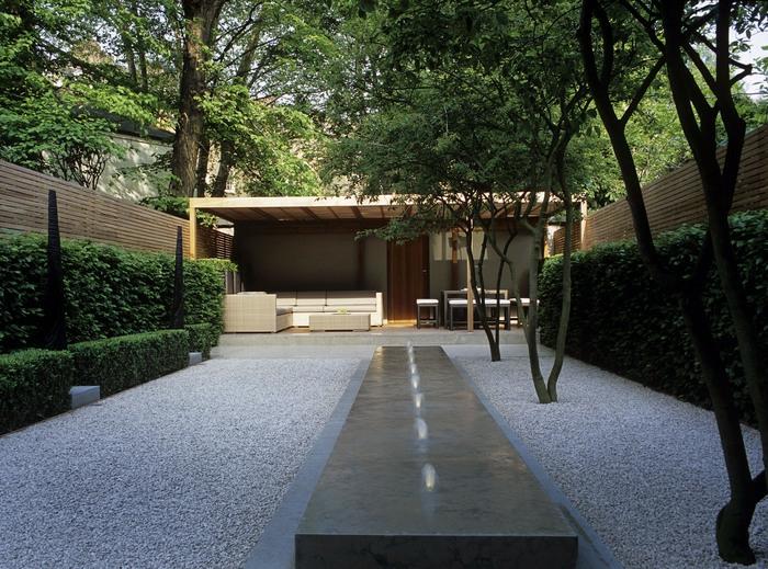 diseño de jardines minimalismo puentes estilos gravas