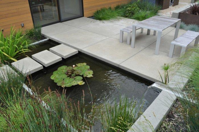 diseño de jardines minimalismo senderos peces flores