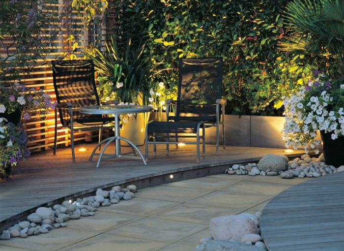 diseño de jardines ideas pequeños suelos elementos luminarias