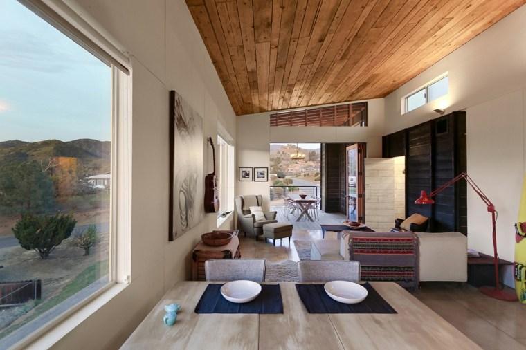 diseño original techo madera sala