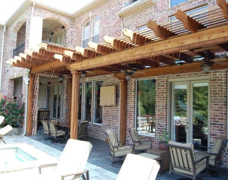 P rgolas madera dise os originales con tejados estilo asi tico - Estructuras de madera para tejados ...