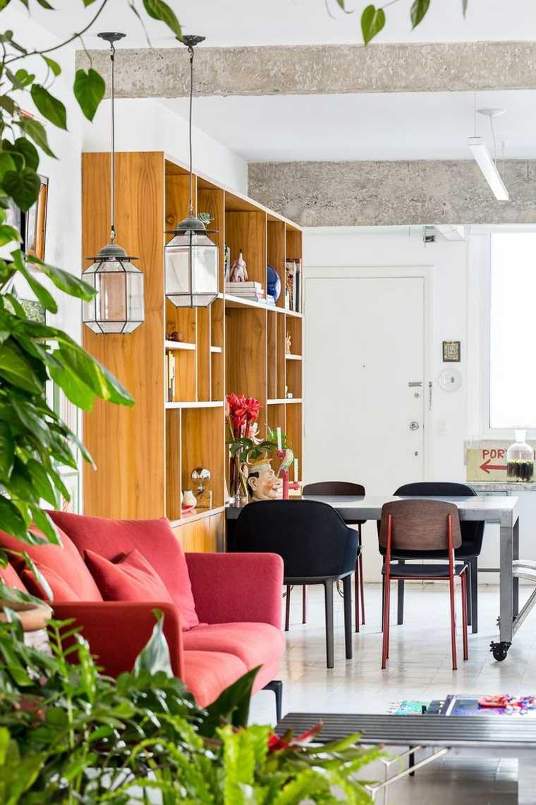 diseño salon sofa color rojo