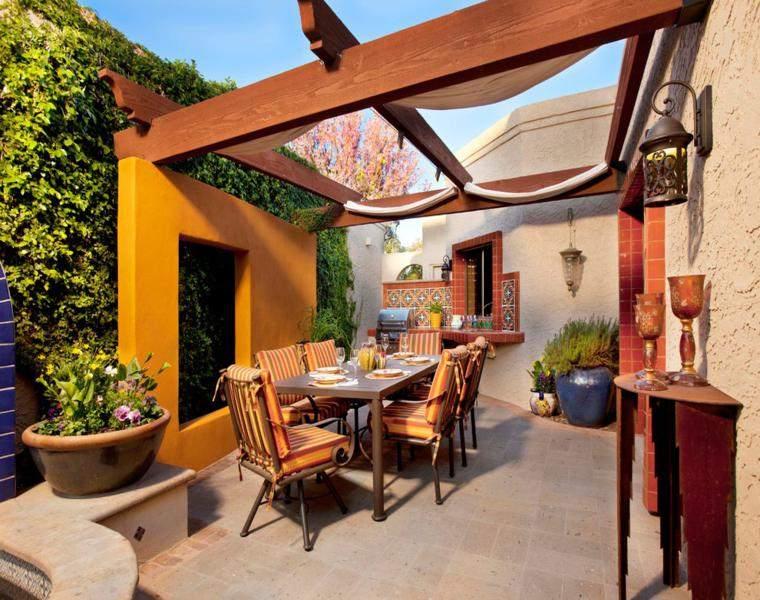 P rgolas madera dise os originales con tejados estilo asi tico - Terrazas con pergolas de madera ...