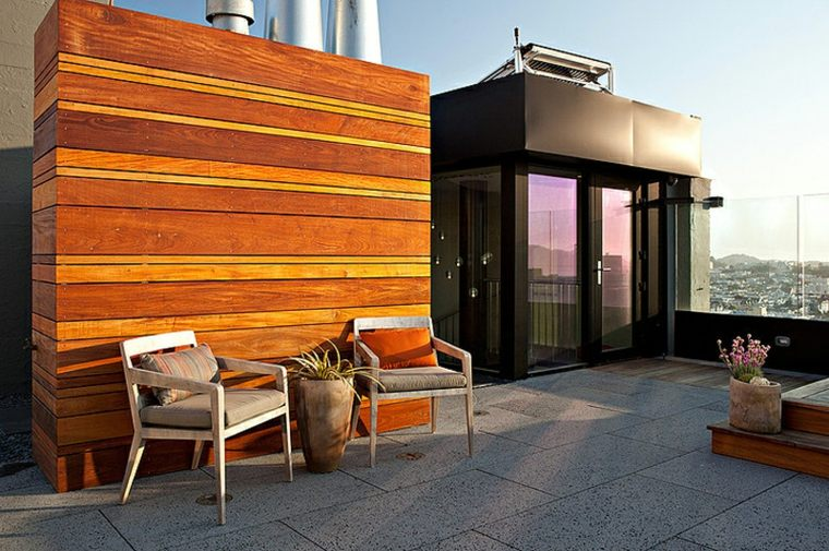 diseno terraza atico sillas suelo losas ideas