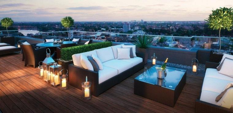 diseno terraza moderna candelabros decorativos ideas