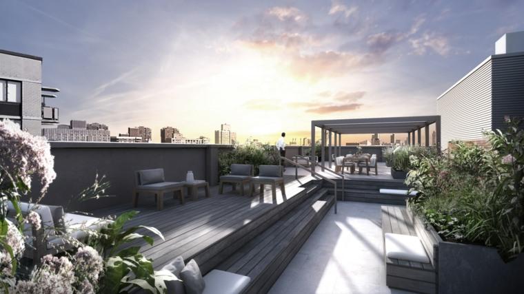 diseno terraza moderna larga pergola ideas