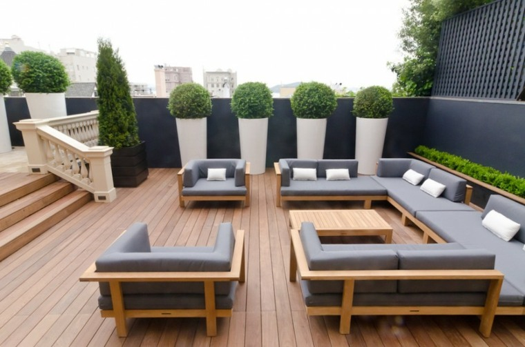 diseno terraza moderna macetas grandes blancas ideas