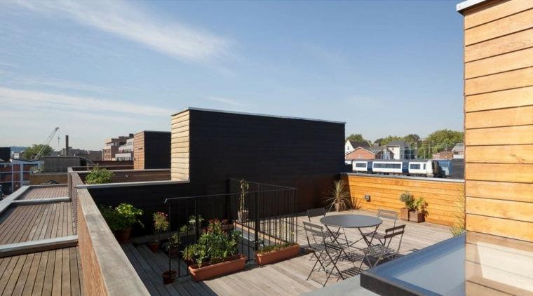 diseno terraza moderna muebles acero ideas
