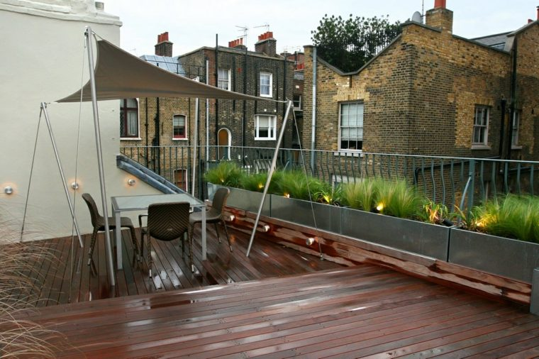 diseno terraza moderna pergola tela ideas