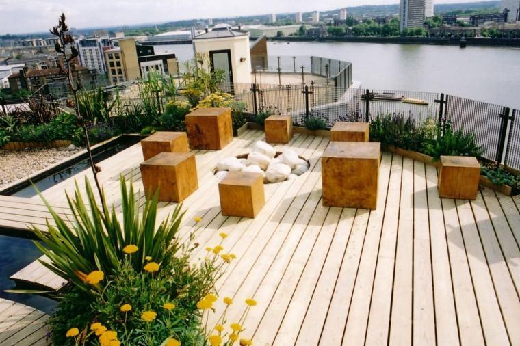 diseno terraza moderna taburetes madera ideas