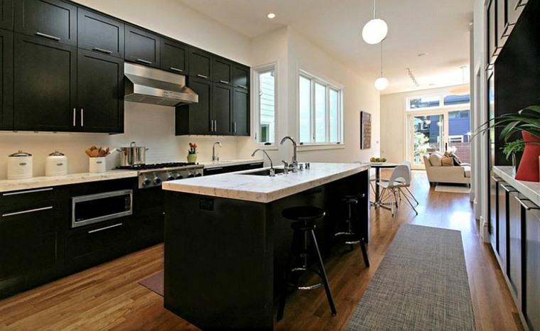 diseno muebles cocina modernos negros