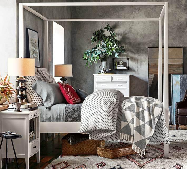 dormitorio alfombra estampa rombos colores ideas