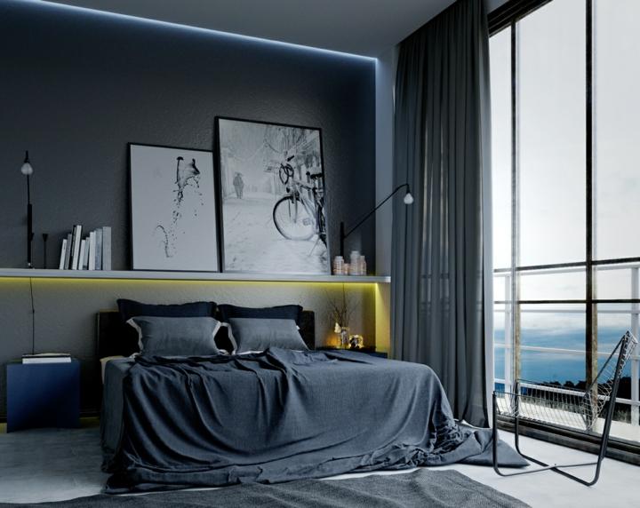 dormitorio iluminacion amarillas simples cabecero relojes