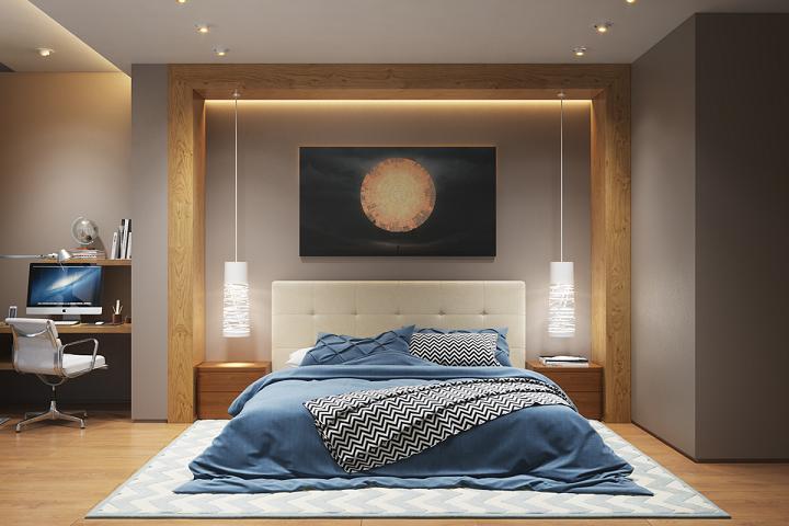 dormitorio iluminacion colores contrastes madera