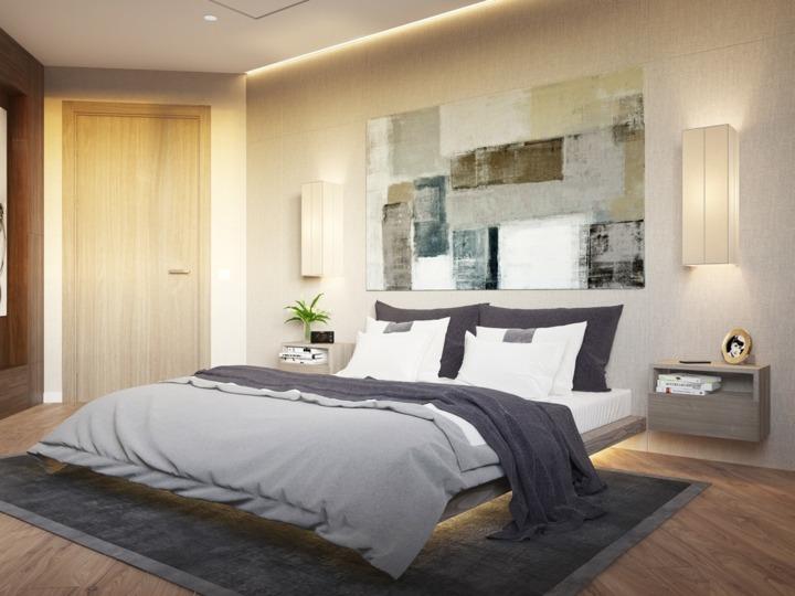 dormitorio iluminacion focales paneles plantas