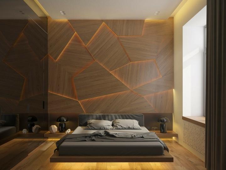 dormitorio iluminacion negro lamparas paneles