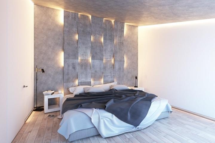 dormitorio iluminacion paneles tejidos madera