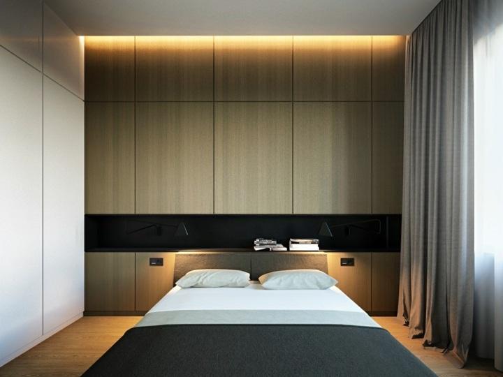 dormitorio iluminacion superior cortinas madera