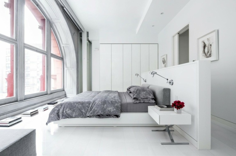 dormitorios modernos imagenes originales blanco mesitas noche ideas